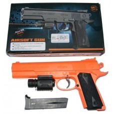 399A Spring Powered 25cm Orange + Black Plastic BB Gun Pistol with Fitted Torch