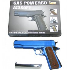HG121 Blue Plastic & Metal Gas Powered Semi-Automatic Airsoft BB Gun Pistol 290 FPS