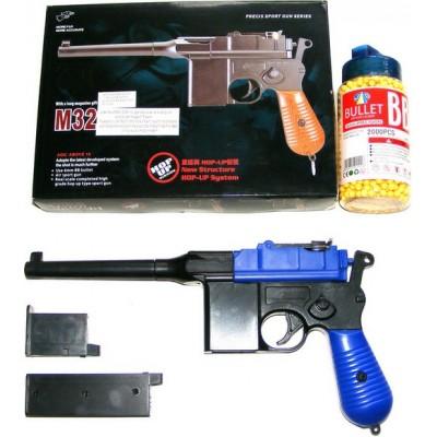 Double Eagle M32 Blue Spring Powered BB Gun Pistol (Mauser Replica) & 2000 Pellets
