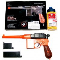 Double Eagle M32 Orange + Black Spring Powered BB Gun Pistol (Mauser Replica) & 2000 Pellets