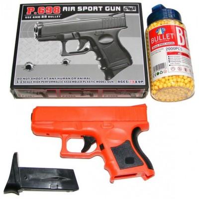 Cyma P698 Spring Powered Plastic BB Gun Pistol & 2000 Pellets