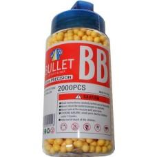 1 Tub of 2000 Yellow 0.15g Plastic 6mm BB Gun Pellets