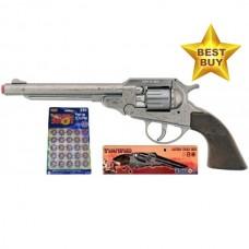 Gonher 27.5cm Diecast Metal 8-Shot Cowboy Style Cap Gun Pistol & 160 Caps